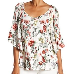 Bobeau Tie Back Flutter Sleeve Top